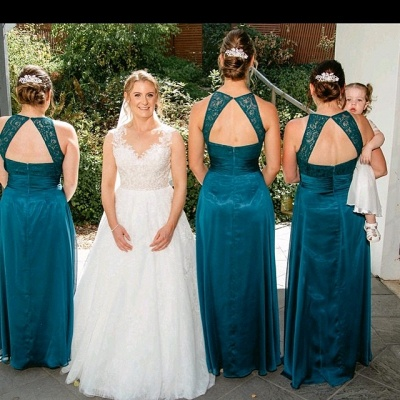 Floor-length Dark Green Ruffles Halter Lace Open-back A-line Bridesmaid Dress_2