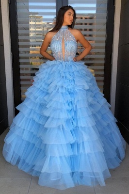 Halter Sleeveless Graceful Ball-gown Beaded Prom Dress With-tiered_3