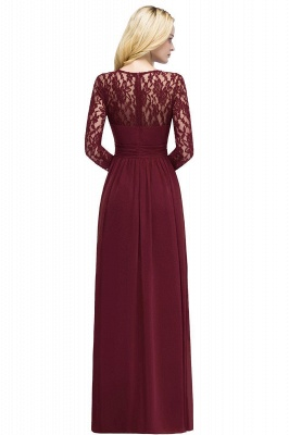 Floor Lace Length Long A-line Sleeves Chiffon Bridesmaid_7