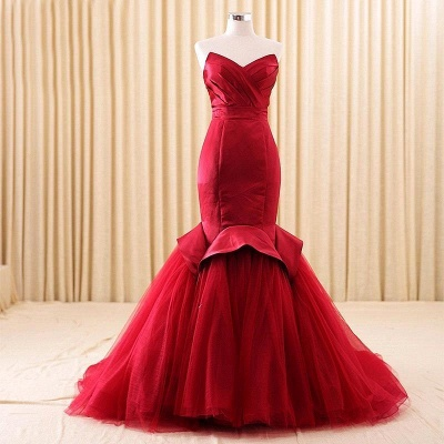 Sexy Red Mermaid Sweetheart Prom Dress 2021 Lace-Up Evening Dress_6