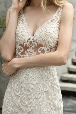 Wholesale Long Mermaid Lace Organza Wedding gowns Ruffles Train_8