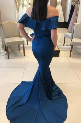 Mermaid Off-the-shoulder Ruffle-sleeve Backless Prom Dress_2