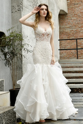 Wholesale Long Mermaid Lace Organza Wedding gowns Ruffles Train_13