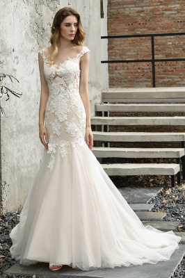 Gorgeous Floor Length  Lace Tulle Wedding Dresses Mermaid