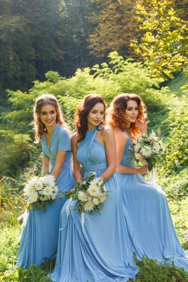 Elegant A-line Covertible Sash Bridesmaid dresses_7