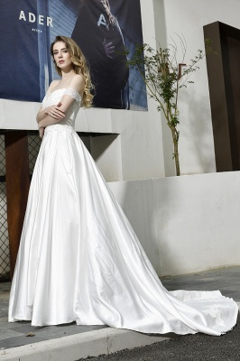 Cheap A Line Off the Shoulder Lace Satin White Wedding Gowns_7
