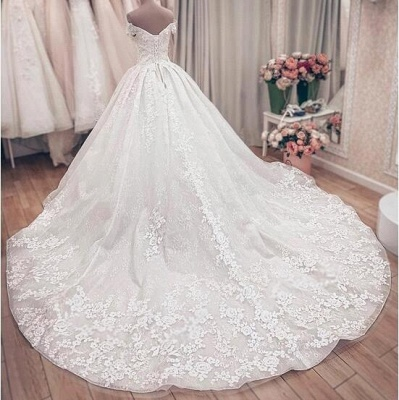Off The Sholder  Sweetheart Applique Beaded Ball Gown Wedding Dresses_5