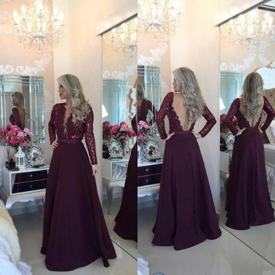 Sexy Burgundy Beadings Prom Dress A-Line Long Sleeves Lace Evening Gowns_3