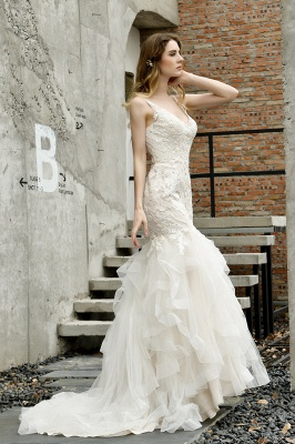 Cheap Floor Length Mermiad Sweetheart Lace Wedding Dresses_9