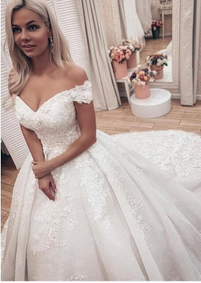 Off The Sholder  Sweetheart Applique Beaded Ball Gown Wedding Dresses_3