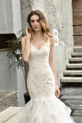Cheap Floor Length Mermiad Sweetheart Lace Wedding Dresses_6