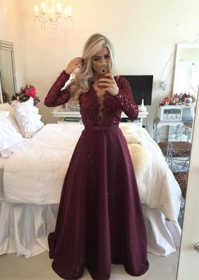 Sexy Burgundy Beadings Prom Dress A-Line Long Sleeves Lace Evening Gowns_2