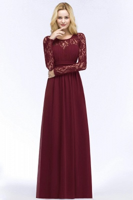Floor Lace Length Long A-line Sleeves Chiffon Bridesmaid_11