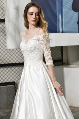 Cheap Lace Half Sleeves V Neck Wedding Gowns Satin with Train_11
