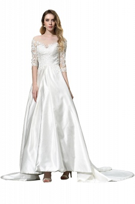 Cheap Lace Half Sleeves V Neck Wedding Gowns Satin with Train_10
