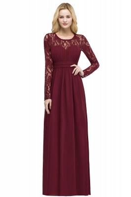 Floor Lace Length Long A-line Sleeves Chiffon Bridesmaid_8