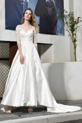 Cheap Lace Half Sleeves V Neck Wedding Gowns Satin with Train_7