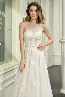 Sexy One Shoulder Lace Tulle Wedding Dresses Open Back_13