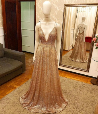 Luxury Sequin Gold Spaghetti-strap A-line Prom Dress_2
