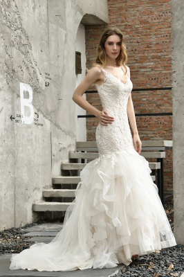 Cheap Floor Length Mermiad Sweetheart Lace Wedding Dresses_12
