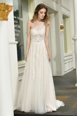 Sexy One Shoulder Lace Tulle Wedding Dresses Open Back_8