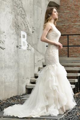 Cheap Floor Length Mermiad Sweetheart Lace Wedding Dresses_10