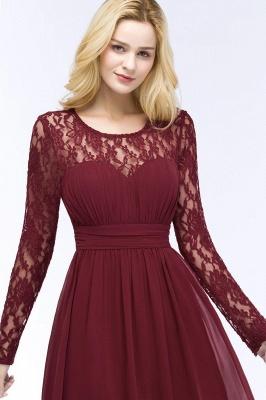 Floor Lace Length Long A-line Sleeves Chiffon Bridesmaid_10
