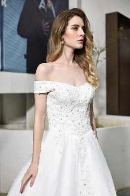 Cheap White Off the Shoulder Lace Beading Mermaid Wedding Gowns_9
