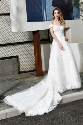 Cheap White Off the Shoulder Lace Beading Mermaid Wedding Gowns_7