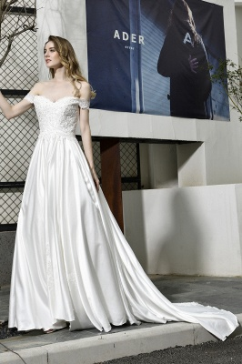 Cheap A Line Off the Shoulder Lace Satin White Wedding Gowns_8