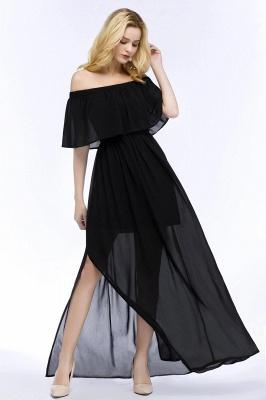 Chiffon Off-the-shoulder Length A-line Black Floor Bridesmaid Dresses_6