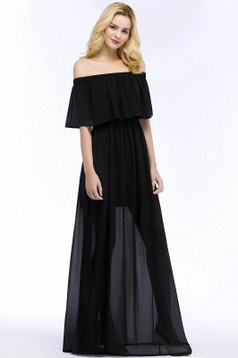 Chiffon Off-the-shoulder Length A-line Black Floor Bridesmaid Dresses_7