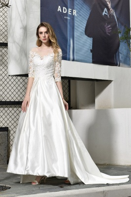 Cheap Lace Half Sleeves V Neck Wedding Gowns Satin with Train_6