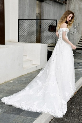 Cheap White Off the Shoulder Lace Beading Mermaid Wedding Gowns_12