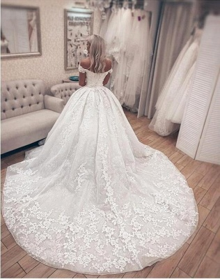 Off The Sholder  Sweetheart Applique Beaded Ball Gown Wedding Dresses_2