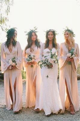 Sheath Slit V-neck Flare-long-sleeve Floor-length Bridesmaid Dress_1