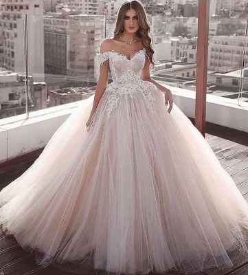 Off-the-shoulder Sweetheart Ball-gown Beading Applique Wedding Dress_2