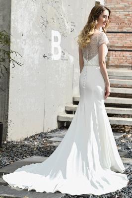 Cheap Short Sleeveless Lace Mermaid White wedding dresses_11