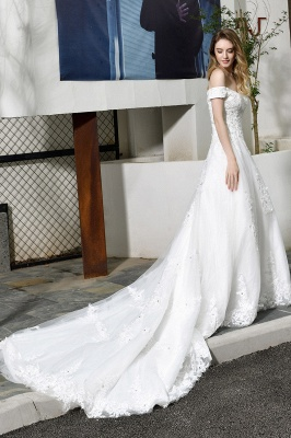 Cheap White Off the Shoulder Lace Beading Mermaid Wedding Gowns_5