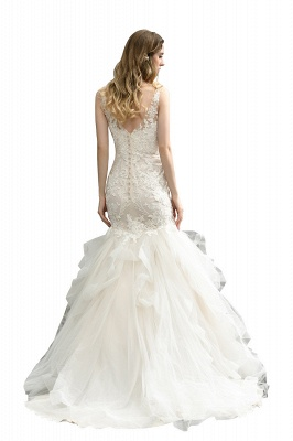 Cheap Floor Length Mermiad Sweetheart Lace Wedding Dresses_4