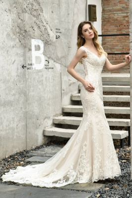 Cheap Long Lace Wedding Dresses Backless Floor Length Straps Online_7