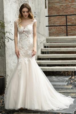 Gorgeous Floor Length  Lace Tulle Wedding Dresses Mermaid_4