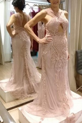 Halter Sheath Applique Cheap Sleeveless Backless Crystal Pink Prom Dresses_2