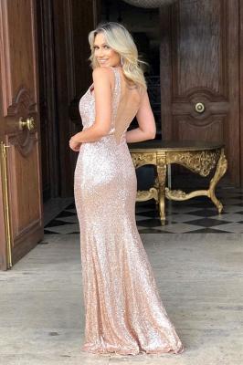 Sheath Alluring Straps Sequined V-back Front-slit V-neck Prom Dresses_2
