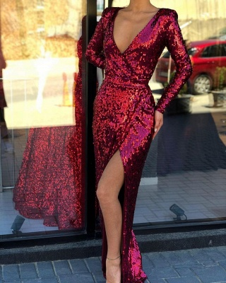 V-neck Long-sleeve Sheath Front-slit Floor-length Alluring Sequined Prom Dress_2