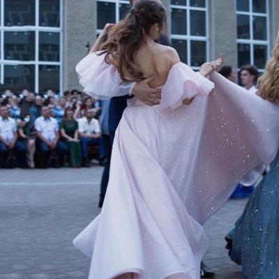 Floor-length Sweetheart Off-the-shoulder Front Slit Pink A-line Prom Dresses_4