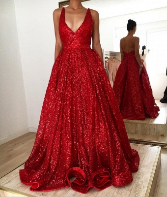 Red A-line V-neck Backless Sequined Lace Luxury Straps Prom Dresses_2