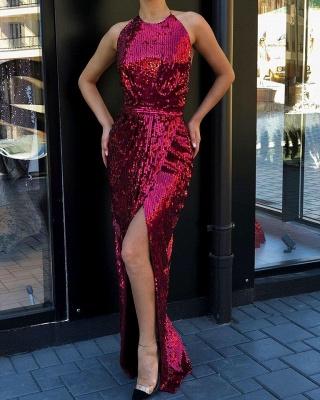 Halter Sequined Front-slit Sheath Floor-length Sleeveless Prom Dresses_2