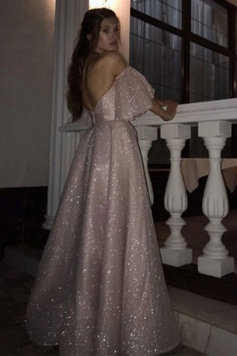 Floor-length Sweetheart Off-the-shoulder Front Slit Pink A-line Prom Dresses_3