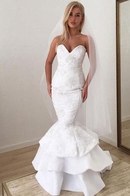 Mermaid Beading Applique Sweetheart Backless Sleeveless Wedding Dresses_3